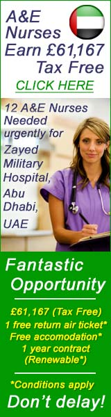 £61,167 tax free A&E nurses needed urgently for Abh Dhabi, UAE